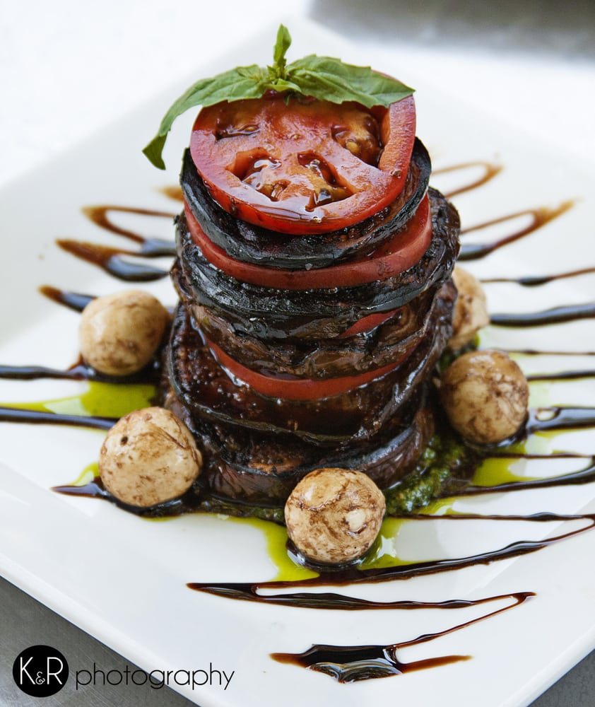 Grilled Eggplant and Vine Ripe Tomato Pave